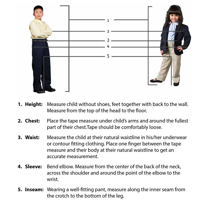 Executive Apparel Kids Measuring Guide
