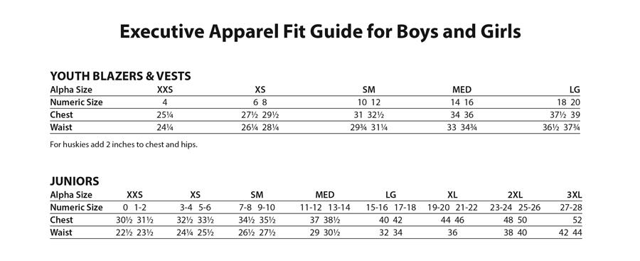 Executive Apparel Kids Size Chart Elite