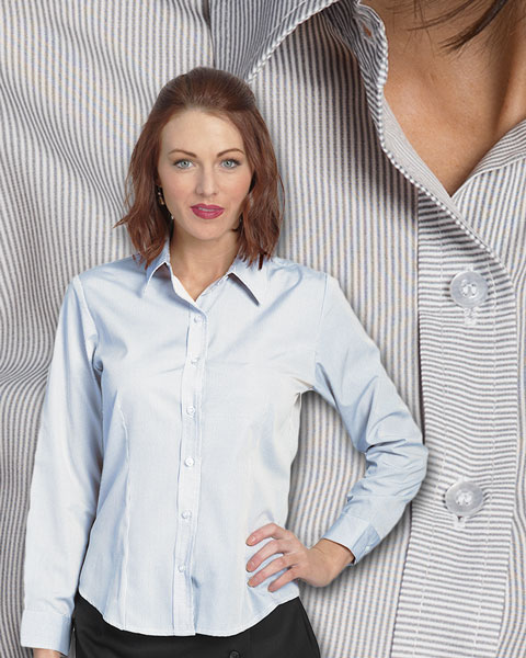 Pinstriped Women's Shirt for Uniform