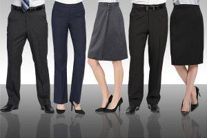 career pants, skirts, dresses, uniforms