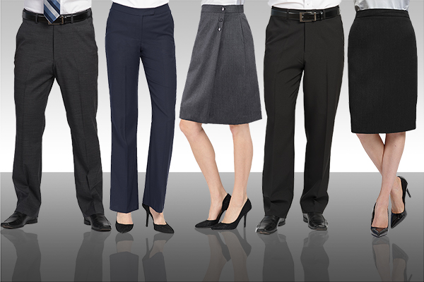 career pants, skirts, dresses, uniforms