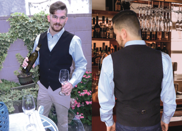 Man in a Custom Hospitality Uniform Vest Front and Back view