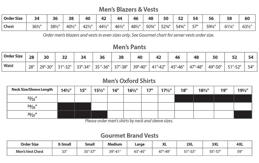 Size Chart for Men's Uniform Apparel