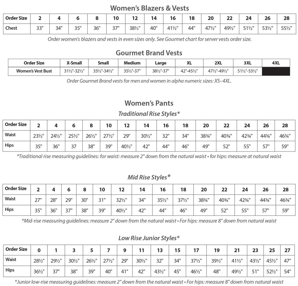 Size Chart for Women's Uniform Apparel