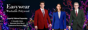 3 people in Easywear Blazers in front of holiday lights