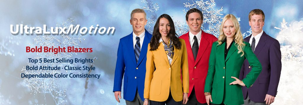 5 people in bright color blazers in winter scene